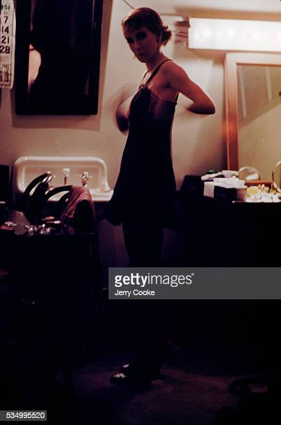Actress Julie Harris stands in her dressing room during a road tour of I am a Camera