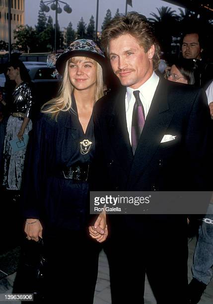 Actress Julie McCullough and actor Andrew Stevens attend the ABC Television Affiliates Party on June 14 1989 at Century Plaza Hotel in Los Angeles...