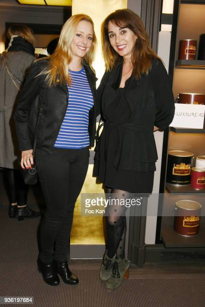 Actress Julie Nicolet and writer Anna Veronique El Baze attend Luxsure Magazine 10th Anniversary Cocktail on March 21 2018 in Paris France