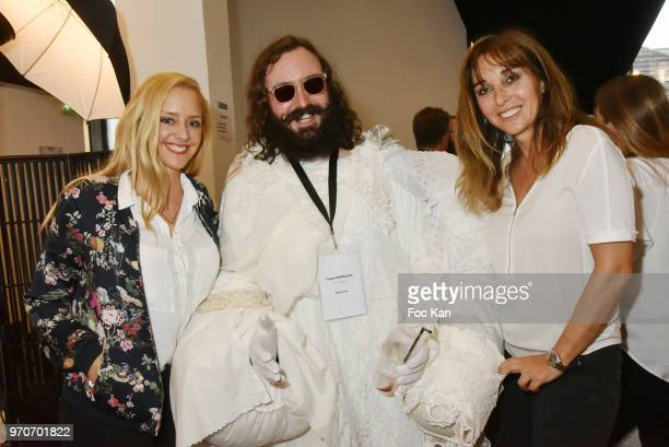 Actress Julie Nicolet competitor Gaston Mermillod and writer Anna Veronique El Baze attend the Championnat de France de Barbe 2018 hosted by...