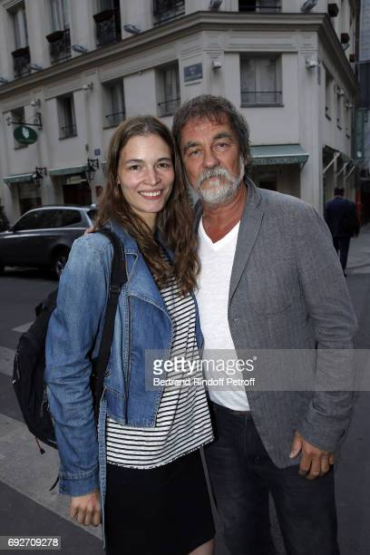 Actress JulieChloe Mougeolle and Director and Actor Olivier Marchal attend 'L'Entree Des Artistes' Theater School by Olivier Belmondo at Theatre des...
