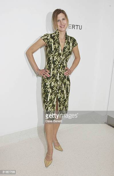 Actress Julienne Davis attends the Vertu launch party and artist Christopher Bucklow's exhibition on April 11 2002 at the Serpentine Gallery in...