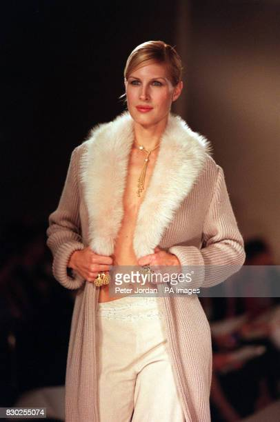 Actress Julienne Davis walks down the catwalk at the Bond street fashion show in London in aid of the charity NCH Action For Children