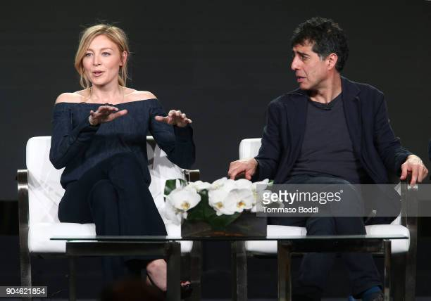 Actress Juliet Rylance and cocreator/executive producer/writer Hossein Amini of the television show McMafia speak onstage during the AMC portion of...