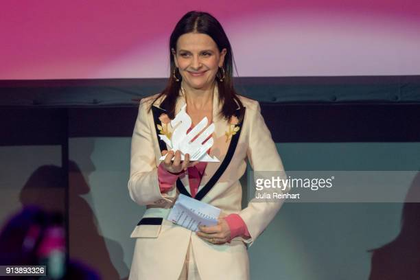Actress Juliette Binoche accepts the Honorary Dragon Award at the Gothenburg International Film Festival 2018 at Auktionsverket Kulturarena on...