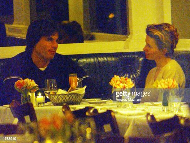 Actress Juliette Binoche and actor Patrick Muldoon have dinner at Nello's restaurant January 24 2003 in New York City