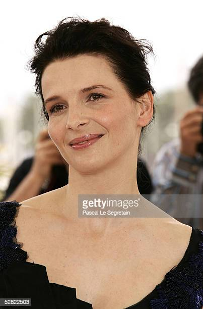Actress Juliette Binoche attends a photocall promoting the film Cache at the Palais during the 58th International Cannes Film Festival May 14 2005 in...