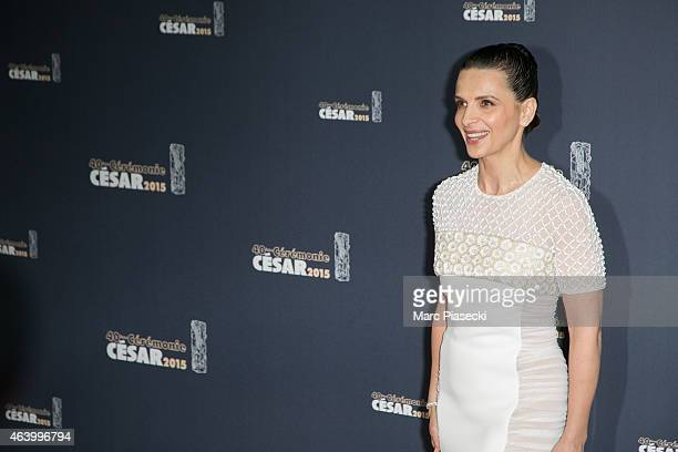 Actress Juliette Binoche attends the Cesar Film Awards at Theatre du Chatelet on February 20 2015 in Paris France