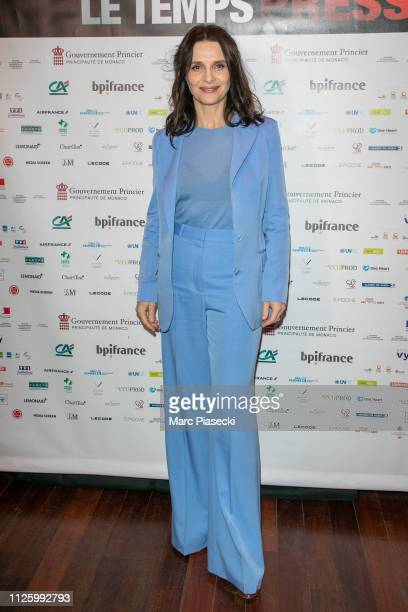 Actress Juliette Binoche attends the 'Le Temps Presse' film festival opening ceremony at Publicis Champs Elysees on January 29 2019 in Paris France