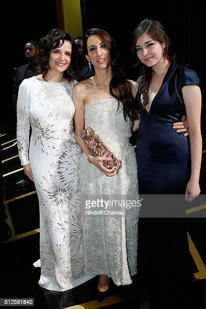 Actress Juliette Binoche Director Deniz Gamze Erguven and Actress Tugba Sunguroglu attend the Cesar Film Award 2016 at Theatre du Chatelet on...