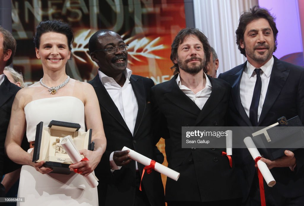 Actress Juliette Binoche, director Mahamat-Saleh Haroun, director Mathieu Almaric and actor Javier Bardem pose with their award during the Palme d'Or Award Ceremony held at the Palais des Festivals during the 63rd Annual Cannes Film Festival on May 23, 2010 in Cannes, France.