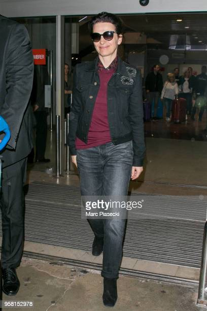 Actress Juliette Binoche is seen during the 71st annual Cannes Film Festival at Nice Airport on May 13 2018 in Nice France