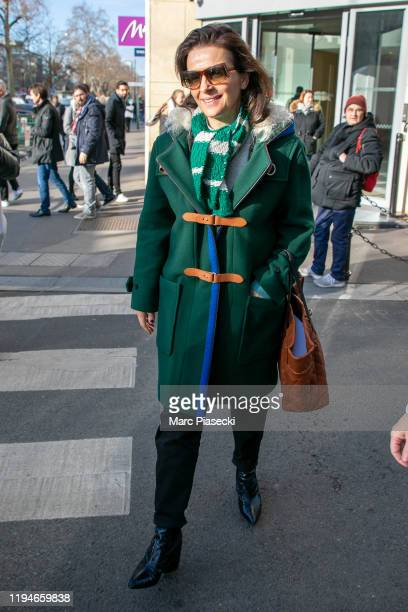 Actress Juliette Binoche is seen leaving RTL radio station on December 18 2019 in Paris France