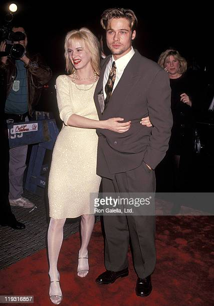 Actress Juliette Lewis and actor Brad Pitt attend the 'Cape Fear' New York City Premiere on November 6 1991 at the Ziegfeld Theater in New York City
