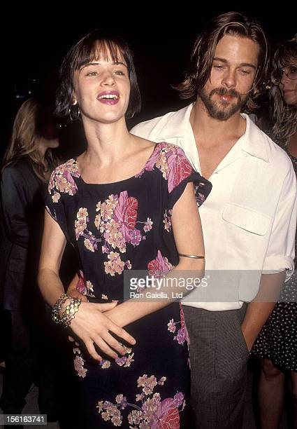 Actress Juliette Lewis and actor Brad Pitt attend the 'Johnny Suede' Beverly Hills Premiere on August 19 1992 at the Laemmle's Fine Arts Theatre in...