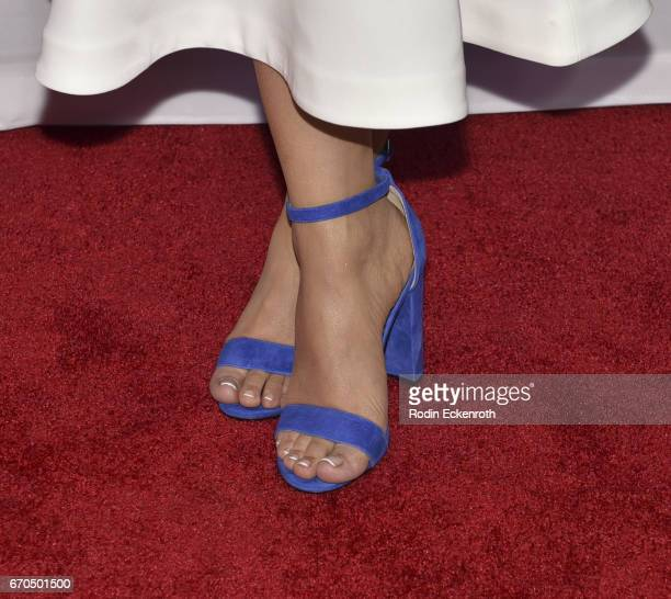 "Actress Juliette Pardau, shoe detail, attends the premiere of Univison's ""El Chapo"" at Landmark Theatre on April 19, 2017 in Los Angeles, California."