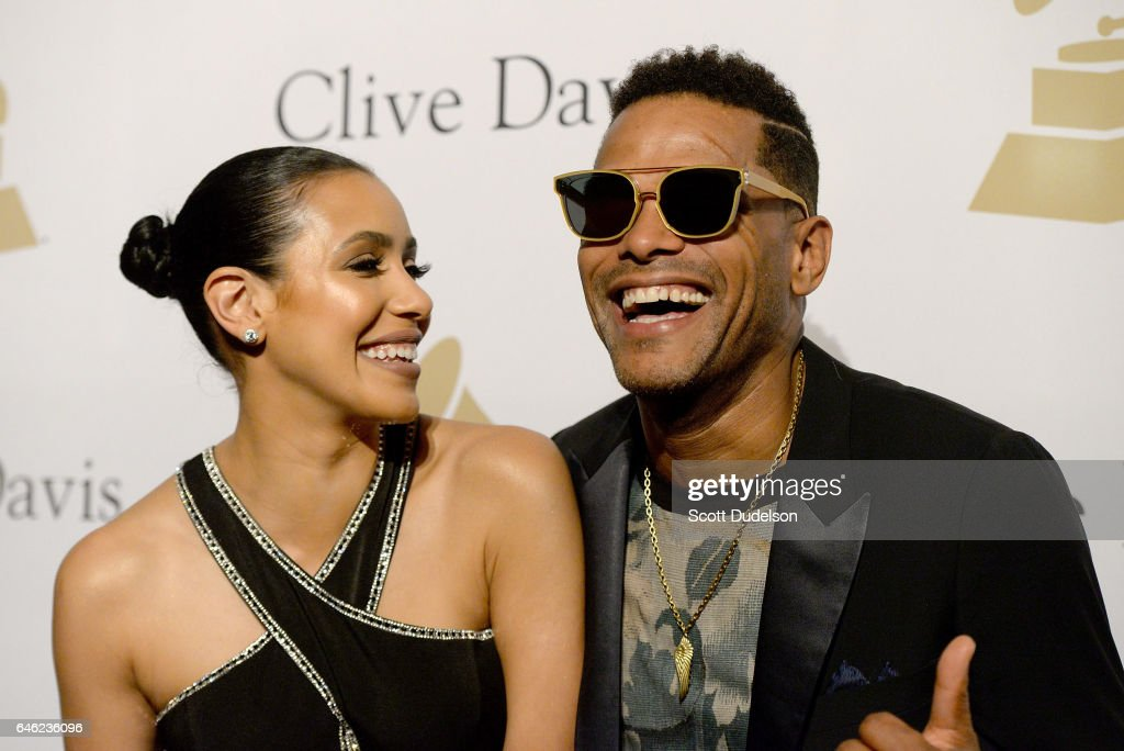 Actress Julissa Bermudez (L) and singer Maxwell (R) attend the 2017 Pre-Grammy Gala and Salute to Industry Icons Event at The Beverly Hilton Hotel on February 11, 2017 in Beverly Hills, California.