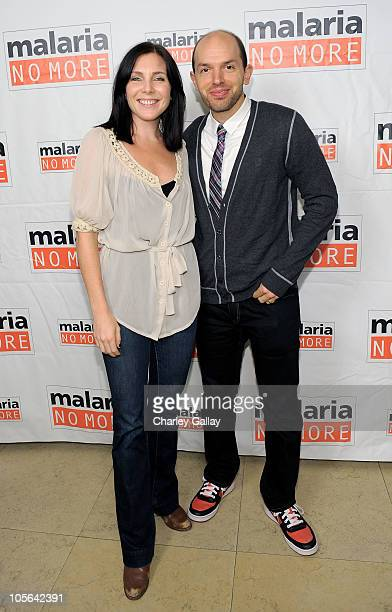 Actress June Diane Raphael and comedian Paul Scheer attend the cocktail party for Malaria No More at the Sunset Tower Hotel on October 17 2010 in Los...