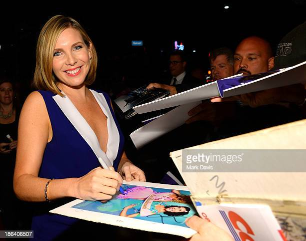 Actress June Diane Raphael attends the premiere of Gravitas Ventures' 'Ass Backwards' at the Vista Theatre on October 30 2013 in Los Angeles...