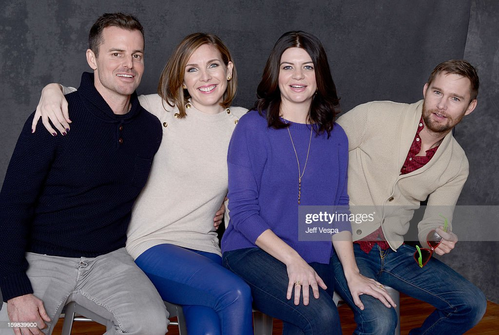 Actress June Diane Raphael, filmmaker Chris Nelson, actress Casey Wilson, and actor Brian Geraghty pose for a portrait during the 2013 Sundance Film Festival at the WireImage Portrait Studio at Village At The Lift on January 21 2013 in Park City, Utah.