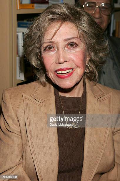Actress June Foray voice of Rocky the Flying Squirrel poses at the Los Angeles premiere book signing of Ben Alba's INVENTING LATE NIGHT Steve Allen...