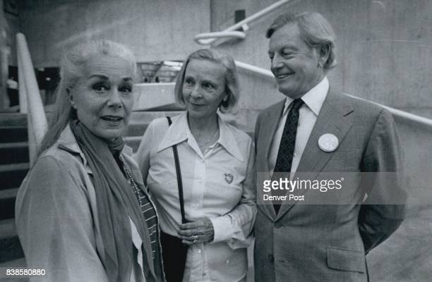 Actress June Havoc left is taken on a tour of the Helen G Bonfils Theater Complex at Denver Center for the Performing Arts by Mr and Mrs Donald R...