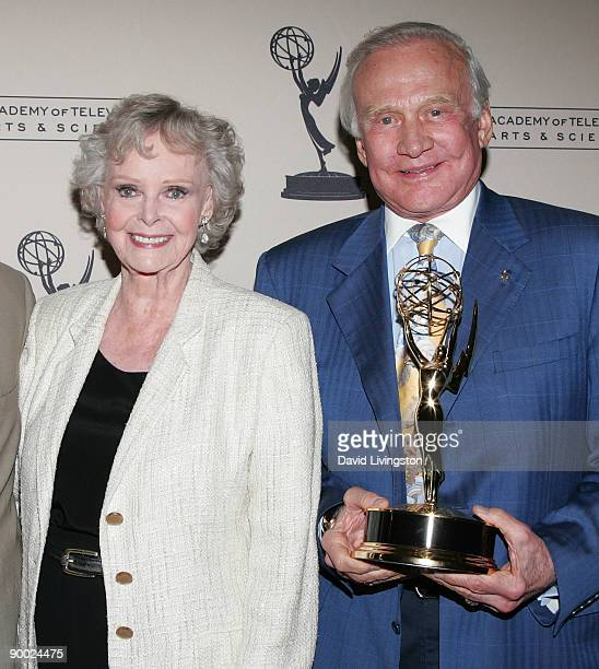 Actress June Lockhart and former astronaut Buzz Aldrin posing with the Philo T Farnsworth Corporate Achievement Award he accepted on behalf of NASA...