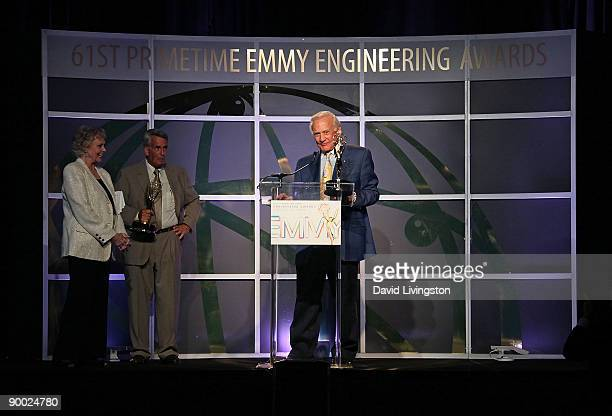 Actress June Lockhart and NASA's Dick Nafzger and former astronaut Buzz Aldrin who each accepted the Philo T Farnsworth Corporate Achievement Award...