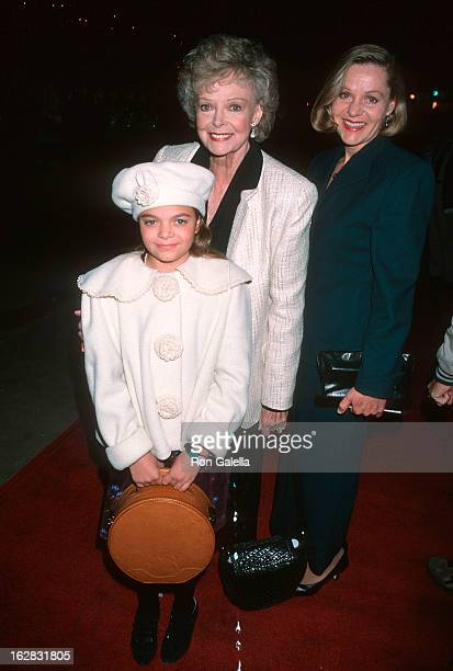 Actress June Lockhart daughter Lizabeth Lockhart and granddaughter attend the Radio City Christmas Spectacular Opening Night on December 11 1998 at...