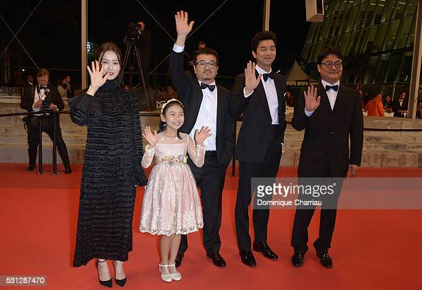 Actress Jung Yumi Sooan Kim director Sangho Yeon actor Yoo Gong and guest attend the Train To Busan premiere during the 69th annual Cannes Film...