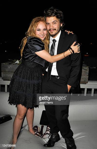 Actress Juno Temple and actor Emile Hirsch at the smartwater CAA party on the vitaminwater Rooftop on September 11 2011 in Toronto Canada