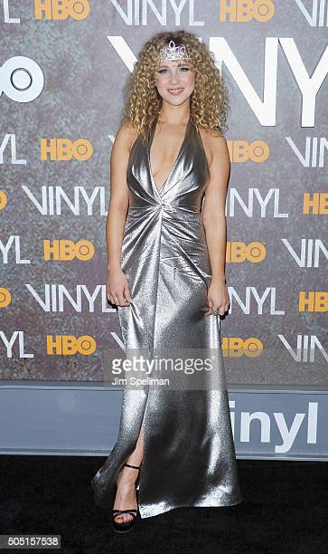 Actress Juno Temple attends the 'Vinyl' New York premiere at Ziegfeld Theatre on January 15 2016 in New York City
