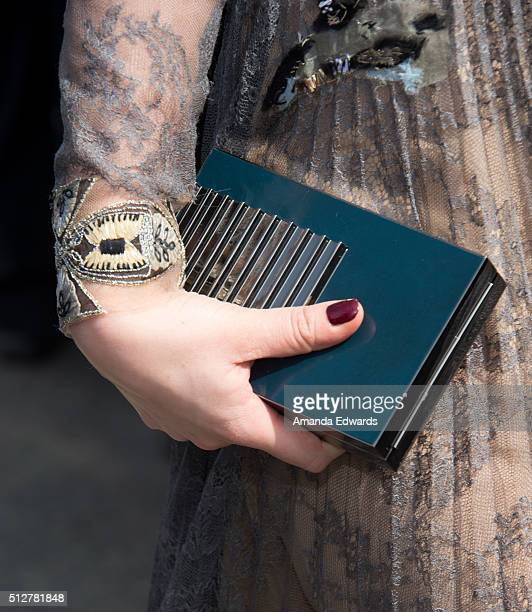 Actress Juno Temple clutch detail attends the 2016 Film Independent Spirit Awards on February 27 2016 in Santa Monica California