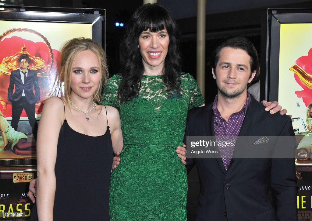 Actress Juno Temple, filmmaker Ramaa Mosley and actor Michael Angarano arrive to the LA screening of Magnolia Pictures' 'The Brass Teapot' at ArcLight Hollywood on March 21, 2013 in Hollywood, California.