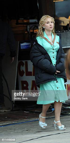Actress Juno Temple on the set of the 'Untitled Woody Allen Project' on September 29 2016 in Brooklyn New York
