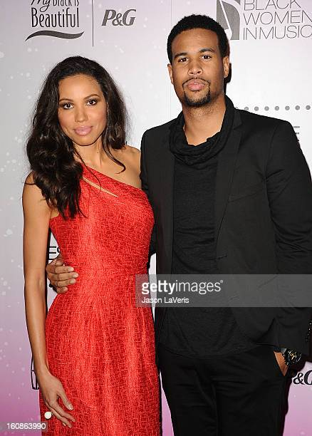 Actress Jurnee Smollett and husband Josiah Bell attend the 4th annual ESSENCE Black Women In Music event at Greystone Manor Supperclub on February 6...