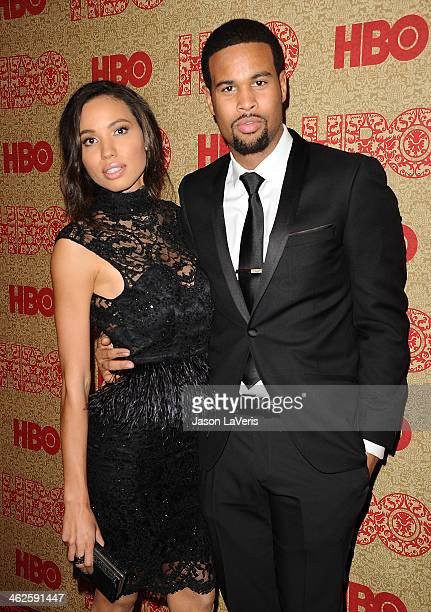 Actress Jurnee Smollett and Josiah Bell attend HBO's Golden Globe Awards after party at Circa 55 Restaurant on January 12 2014 in Los Angeles...