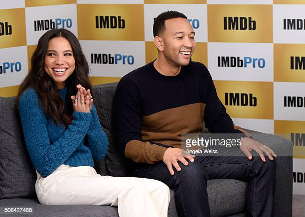 Actress Jurnee SmollettBell and executive producer John Legend in The IMDb Studio In Park City Utah Day Two on January 23 2016 in Park City Utah
