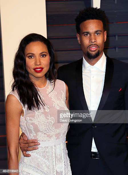 Actress Jurnee SmollettBell and husband Josiah Bell attend the 2015 Vanity Fair Oscar Party hosted by Graydon Carter at the Wallis Annenberg Center...