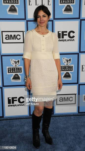 Actress Justine Bateman arrives at the 2008 Independent Spirit Awards at the Santa Monica Pier on February 23 2008 in Santa Monica California