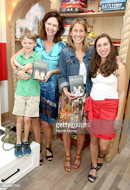 """Actress Justine Eyre and son, """"The Nocturnals"""" author Tracey Hecht and artist Kate Liebman attend the celebration for Tracey Hecht's new book series..."""