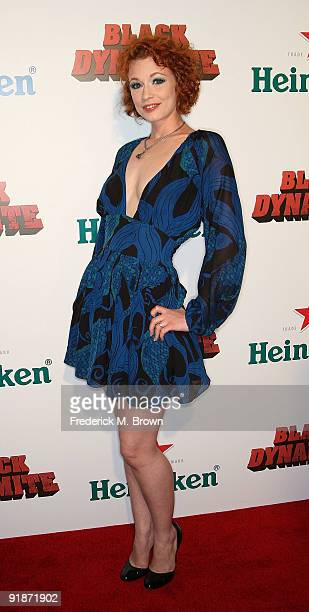 Actress Justine Joli attends the Black Dynamite film premiere at the Arclight Hollywood on October 13 2009 in Hollywood California