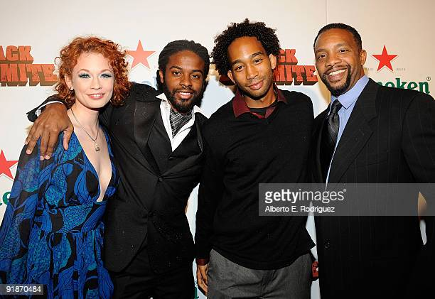 Actress Justine Joli musician Adrian Younge actor Jason Jack Edwards and writer/actor Byron Minns arrive at the Los Angeles premiere of Black...