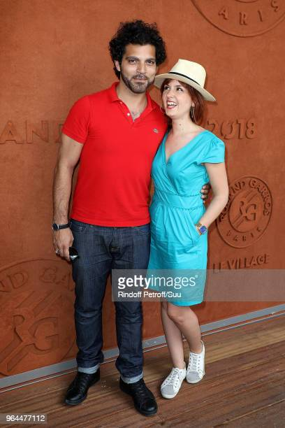 Actress Justine Le Pottier and actor Vincent Heneine attend the 2018 French Open - Day Five at Roland Garros on May 31, 2018 in Paris, France.