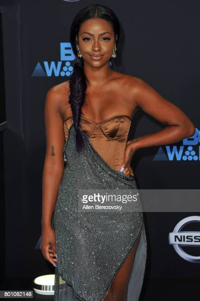 Actress Justine Skye arrives at the 2017 BET Awards at Microsoft Theater on June 25 2017 in Los Angeles California