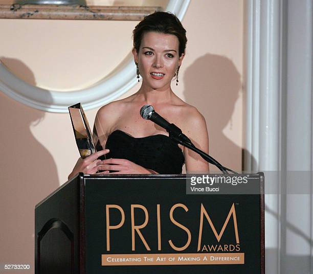 Actress Justine Waddell accepts an award at the 9th Annual Prism Awards at the Beverly Hills Hotel on April 28 2005 in Beverly Hills California
