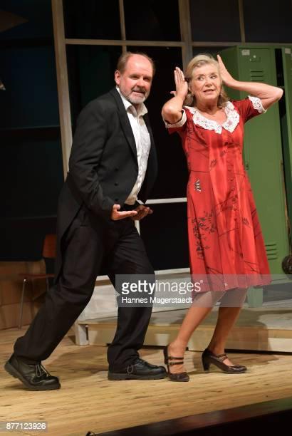 Actress Jutta Speidel and actor August Schmoelzer during the photo call of 'Josef und Maria' at Komoedie im Bayerischen Hof on November 21, 2017 in...