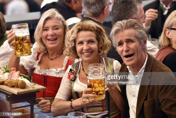 Actress Jutta Speidel, Michaela May and her husband Bernd Schadewald during the opening of the 2019 Oktoberfest beer festival at Theresienwiese on...