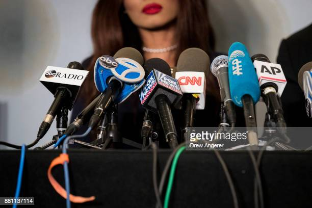 Actress Kadian Noble speaks about her experiences with Harvey Weinstein during a press conference to announce the filing of a lawsuit against Harvey...