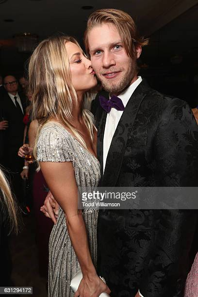 Actress Kaely Cuoco and Karl Cook attend Amazon Studios Golden Globes Celebration at The Beverly Hilton Hotel on January 8, 2017 in Beverly Hills,...